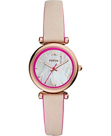 Women's Carlie Mini Hot Pink & Blush Leather Strap Watch 28mm