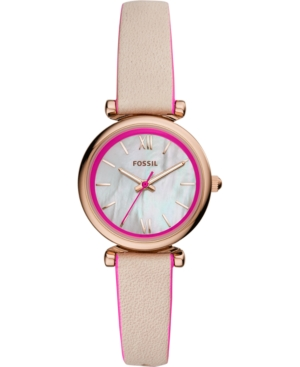 Fossil Jewelry WOMEN'S CARLIE MINI HOT PINK & BLUSH LEATHER STRAP WATCH 28MM