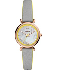 Women's Carlie Mini Gray Leather Strap Watch 28mm