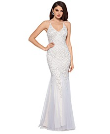 Embellished Mermaid-Hem Gown