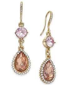 Gold-Tone Crystal & Stone Double Drop Earrings, Created for Macy's