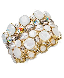 INC Gold-Tone Stone & Crystal Cluster Stretch Bracelet, Created for Macy's