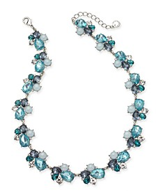 "Silver-Tone Crystal, Stone & Imitation Pearl Cluster Collar Necklace, 17"" + 2"" extender, Created for Macy's"