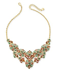"""Gold-Tone Multi-Crystal Hydrangea Statement Necklace, 17"""" + 2"""" extender, Created for Macy's"""