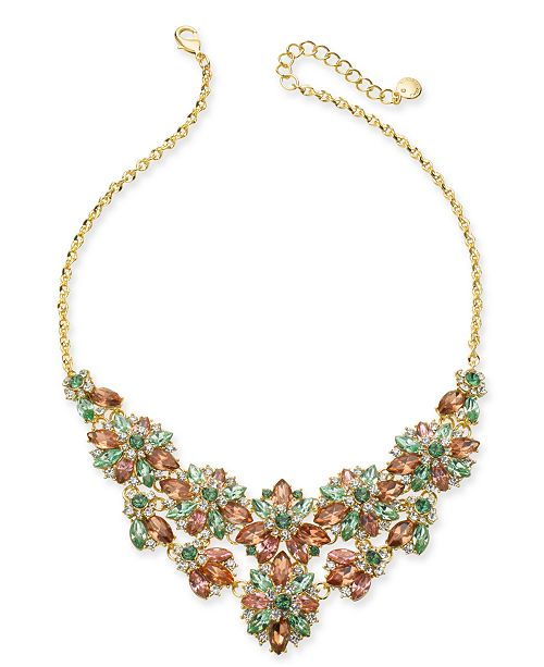 """Charter Club Gold-Tone Multi-Crystal Hydrangea Statement Necklace, 17"""" + 2"""" extender, Created For Macy's"""