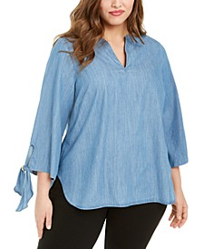 Plus Size Chambray Tie-Sleeve Top