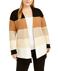 Plus Size Cotton Striped Cardigan