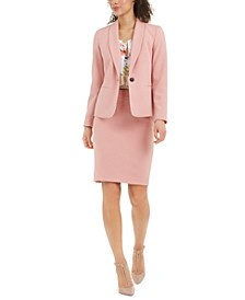 One-Button Blazer, Floral-Print Sleeveless Blouse & Textured Pencil Skirt