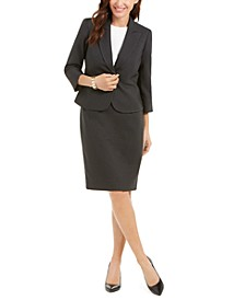 Two-Tone Tweed Skirt Suit