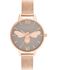 Women's Lucky Bee Rose Gold-Tone Stainless Steel Mesh Bracelet Watch 30mm