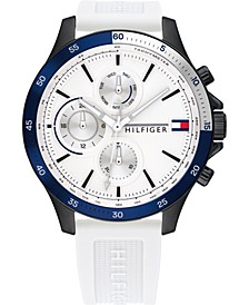 Men's Chronograph White Silicone Strap Watch 46mm, Created for Macy's