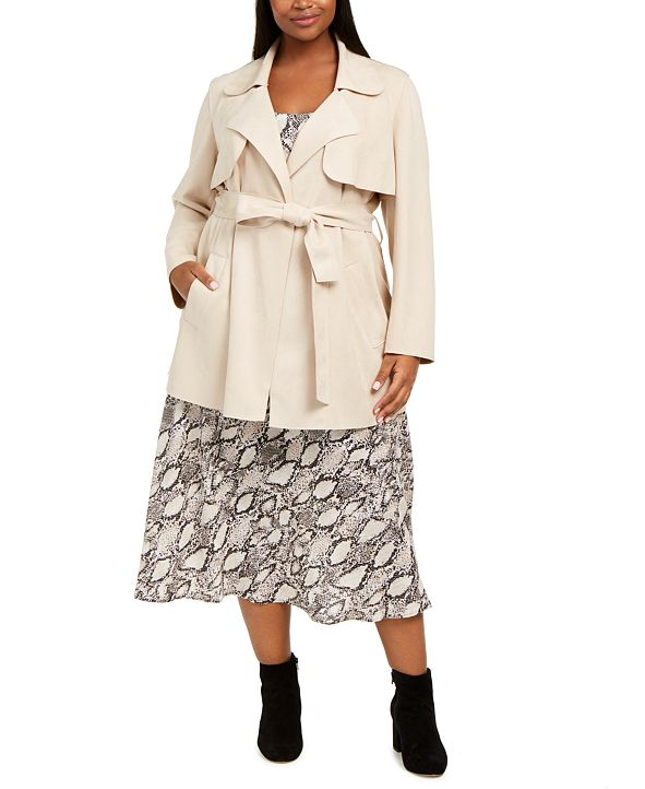 Bar III Plus Size Faux-Suede Belted Jacket, Snake-Print Camisole & Midi Skirt, Created for Macy's