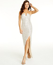 Juniors' Sequin Strapless Gown