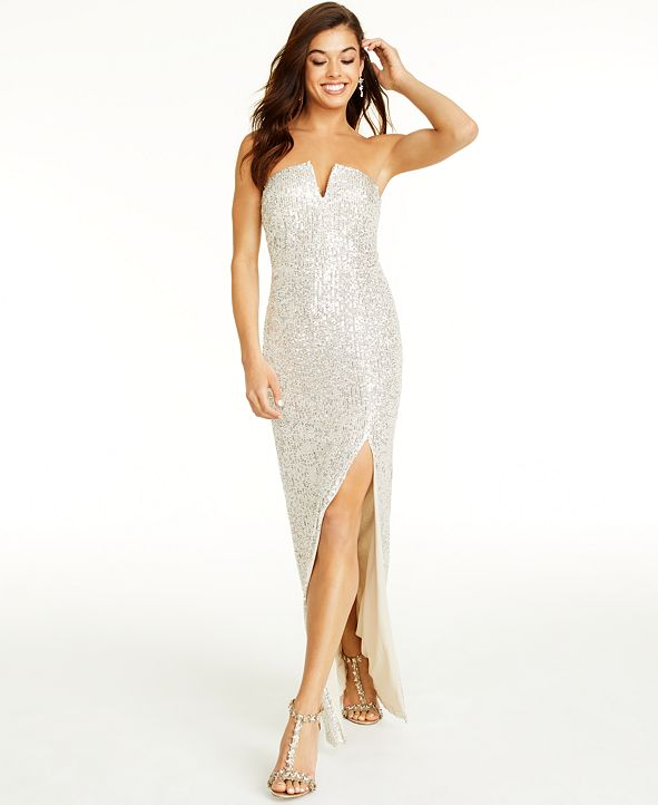B Darlin Juniors' Sequin Strapless Gown