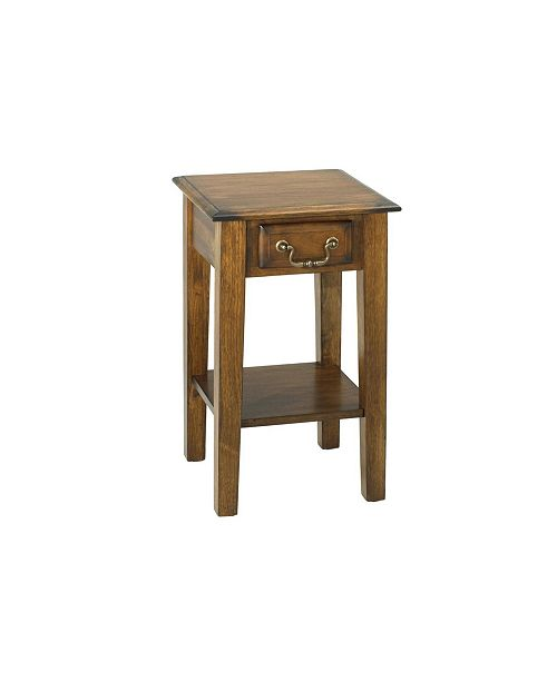 Chelsea Home Furniture Tyler Square End Table with Drawer Burnished Walnut