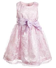 Little Girls Burnout Gauze Satin Dress