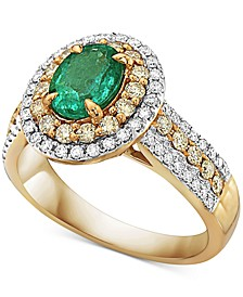 Emerald (7/8 ct. t.w.), Yellow Diamond (1/2 c.t. t.w.) & White Diamond (1/4 c.t. t.w.) Ring in 14k Gold