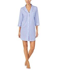 Striped Jersey Knit Sleep Shirt