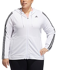 Plus Size Striped Zip Hoodie