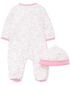 Baby Girls 2-Pc. Cotton Teddy-Print Hat & Footed Coverall