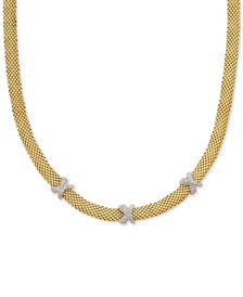 "Diamond Crisscross Mesh 18"" Statement Necklace (3/8 ct. t.w.) in Two-Tone Vermeil"