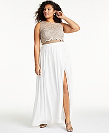 Trendy Plus Size Lace Top & Long Wrap Skirt