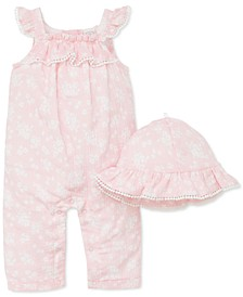 Baby Girls 2-Pc. Cotton Floral-Print Hat & Overall