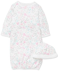 Baby Girls 2-Pc. Cotton Floral-Print Hat & Gown Set