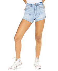 Juniors' Curvy Fit Cuffed Denim Shorts