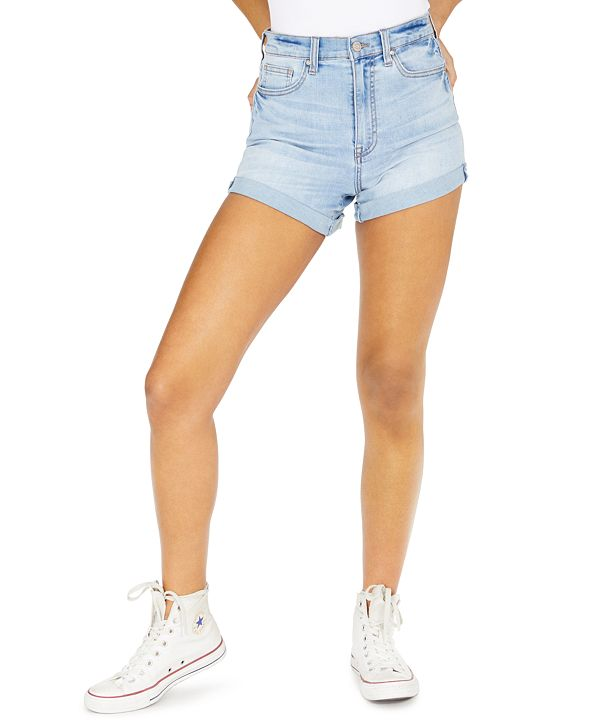 Celebrity Pink Juniors' Curvy Fit Cuffed Denim Shorts