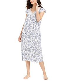 Lace-Trim Floral-Print Nightgown, Created for Macy's