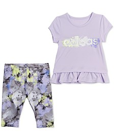Baby Girls 2-Pc. Ruffle-Hem T-Shirt & Printed Carpi Tights Set