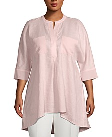 Plus Size Split-Neck High-Low Tunic