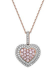 "Natural Pink Certified Diamond Heart 18"" Pendant Necklace (1 ct. t.w.) in 14k Rose Gold"