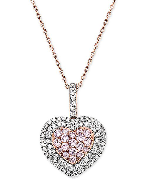 """Macy's Natural Pink Certified Diamond Heart 18"""" Pendant Necklace (1 ct. t.w.) in 14k Rose Gold"""