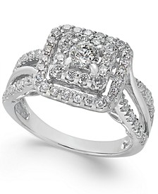 Diamond Double Halo Square Engagement Ring (1 ct. t.w.) in 14k White Gold