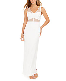 Adrianna Papell White Mesh Illusion Gown