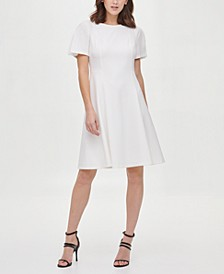 Chiffon Detail Flare Sleeve Fit & Flare