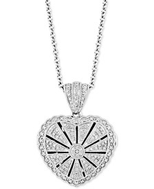 "Diamond Heart Locket 20"" Pendant Necklace  (1/4 ct. t.w.) in Sterling Silver"