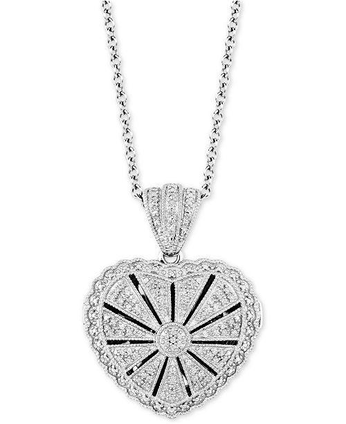 """Macy's Diamond Heart Locket 20"""" Pendant Necklace  (1/4 ct. t.w.) in Sterling Silver"""