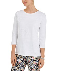 Petite Cotton 3/4-Sleeve Top, Created for Macy's