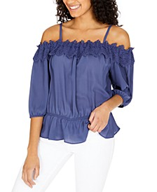 Juniors' Lace-Trimmed Off-The-Shoulder Top