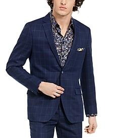 Men's Dover Slim-Fit Navy & Light Blue Windowpane Blazer