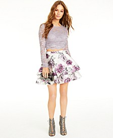 Juniors' 2-Pc. Lace & Floral-Print Dress