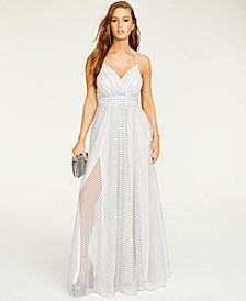 Juniors' Dot-Pattern Gown