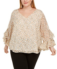 Plus Size Floral-Print Ruffled-Sleeve Top