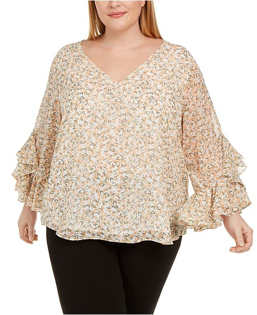 Calvin Klein Plus Size Floral-Print Ruffled-Sleeve Top