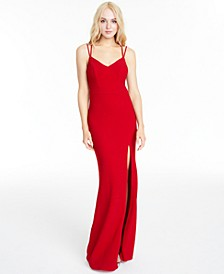 Juniors' Double-Strap Lace-Back Gown