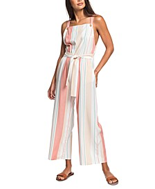 Juniors' From The Clouds Striped Jumpsuit