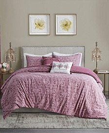Chantelle King/Cal King 5 Piece Damask Matelasse Cotton Comforter Set